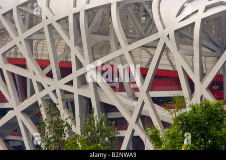 Beijing National Stadium or Birds Nest in Beijing China - Stock Photo