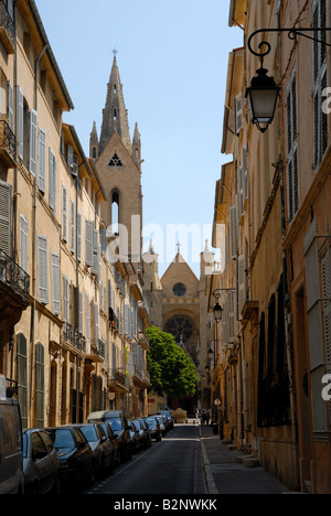 Street in Aix-en-Provence, southern France - Stock Photo