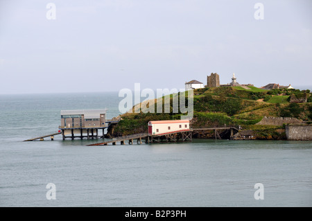 Old and new Lifeboat stations Tenby Pembrokeshire Wales Cymru - Stock Photo