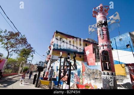 Murals painted by artist Salvador Gonzalez in Callejon de Hamel in the Cayo Hueso district Havana Cuba