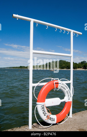 life belt lifebelt ring floatation device safety - Stock Photo