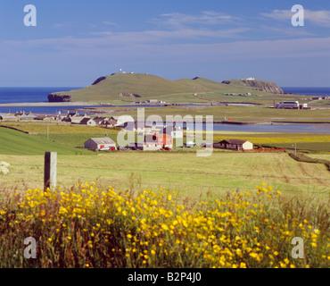 Sumburgh Head and Sumburgh Airport, South Mainland, Shetland Isles, Scotland, UK - Stock Photo