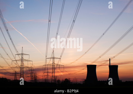 Nuclear Power plant Grafenrheinfeld in Schweinfurt Bavaria Germany Europe EU at dusk - Stock Photo