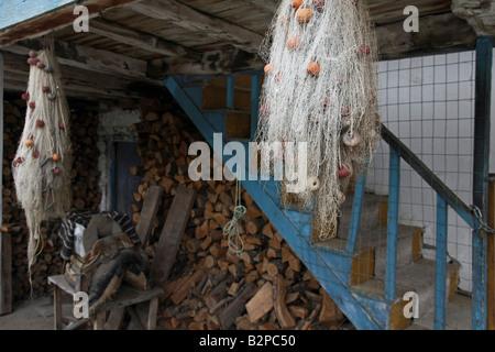 Greece Macedonia Prespa lakes Psarades village fishing nets - Stock Photo