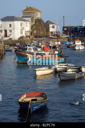 fishing boats in mevagissy harbour cornwall,berth, boat, building, cargo, century,  cornwall, cottages, dock, - Stock Photo