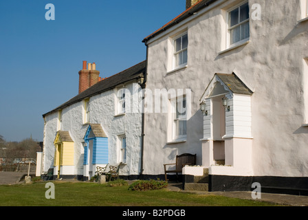 Charlestown, Cornwall, England, UK, Britain. Fishermen's cottages on the quayside,harbour, nature, ocean, outdoors, - Stock Photo