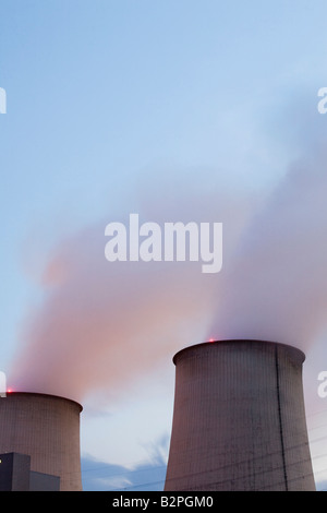 Vattenfall lignite power plant in Jaenschwalde  at dusk Brandenburg Germany Europe EU - Stock Photo