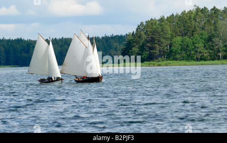 A small ship race, a traditional wooden sailing boats race in the Porvoo Archipelago, Porvoo, Finland, Europe. - Stock Photo