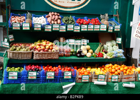 Fruit and veg outside a shop in St. Ives. - Stock Photo