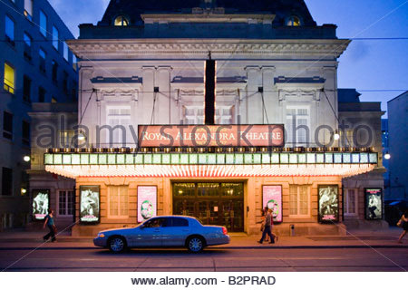 The historic Royal Alexandra Theatre in the Entertainment District on a summer night in Toronto Ontario Canada - Stock Photo