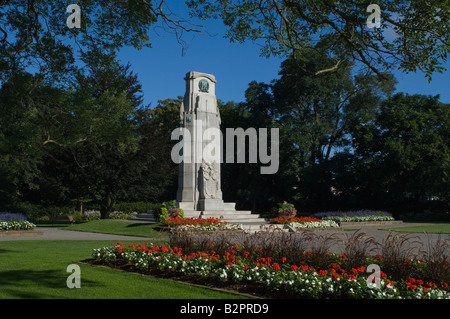 Cenotaph in St. Catharines Ontario where Remembrance Day ceremonies are held every November the 11th. - Stock Photo