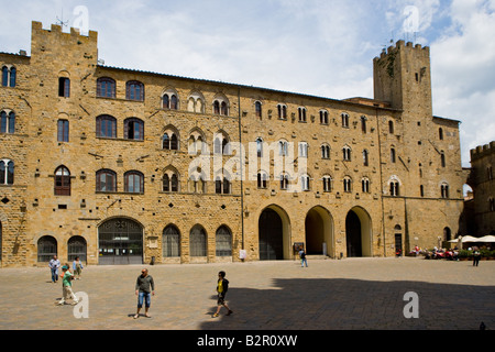 The town hall square with the Palazzo dei Priori - Stock Photo