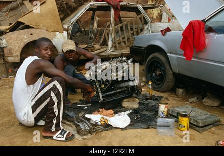 Mechanic workshop in Angola. - Stock Photo