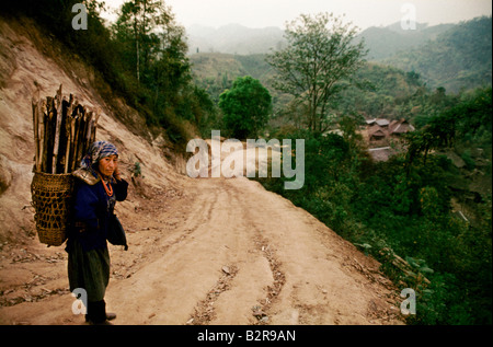 THAILAND GOLDEN TRIANGLE AKHA TRIBE VILLAGE NEAR THE BURMA BORDER NOMADIC CUT BURN CULTURE - Stock Photo