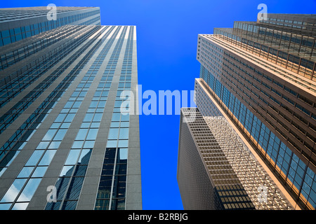 A view of Toronto skyscrapers while looking up from the street - Stock Photo