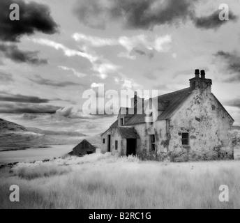 Infrared image of a derelict farmhouse near Arivruach, Isle of Lewis, Hebrides, Scotland, UK - Stock Photo