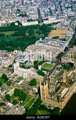 aerial view of Westminster Abbey, London - Stock Photo