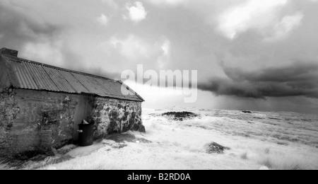 Infrared image of a shieling, Isle of Lewis, Hebrides, Scotland, UK - Stock Photo