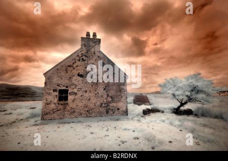 Infrared image of a derelict farmhouse near Arivruach Isle of Lewis Hebrides Scotland UK - Stock Photo