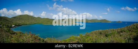 Pamoramic view of Coral Bay on the Caribbean Island of St John in the US Virgin Islands - Stock Photo
