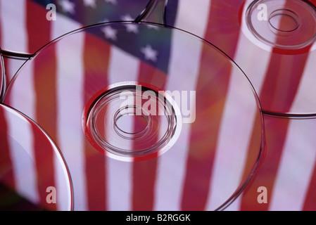 Stack of cd s reflecting the American Flag Marysville Washington State USA - Stock Photo
