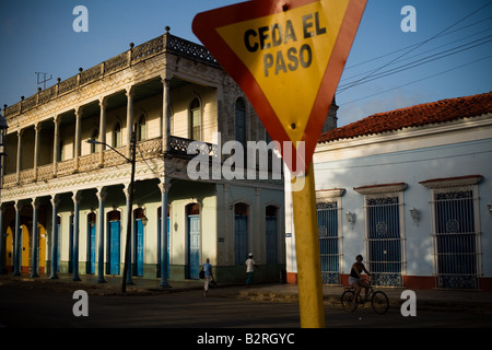 Colonial buildings across from the main plaza in Remedios, Cuba - Stock Photo
