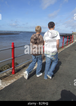 the promenade in rhyl, north wales - Stock Photo