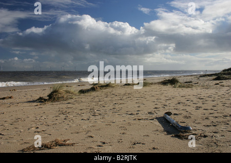 Stormy day on Gt.Yarmouth Beach - Stock Photo