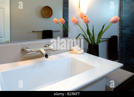 White Modern Bathroom sink with pink tulips