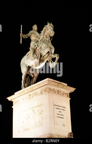 Statue of King Philip IV of Spain, mounted on a horse, in front of the Royal Palace, in Madrid, Spain - Stock Photo