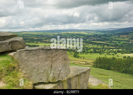 View from Ilkley's Swastika Stone over the valley to Addingham, West Yorkshire, UK. - Stock Photo