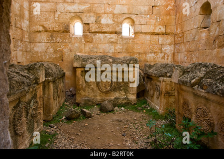 Sarcophagus inside an Ancient Roman Pyramid Tomb Dana One of the Dead Cities in Syria - Stock Photo