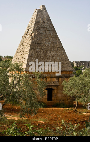 Ancient Roman Pyramid Tomb Dana One of the Dead Cities in Syria - Stock Photo