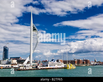 Spinnaker Tower in Portsmouth Harbour, England, UK with Isle of Wight ferry and FastCat - Stock Photo