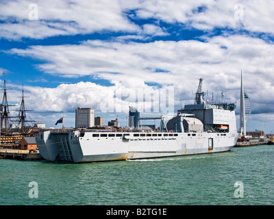 RFA Largs Bay L3006 moored in Portsmouth Harbour England UK - Stock Photo