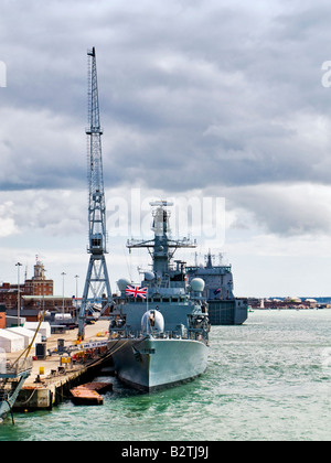 HMS St Albans moored in Portsmouth Harbour England UK with RFA Largs Bay behind - Stock Photo