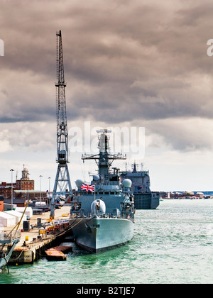 British Battleship HMS St Albans moored in Portsmouth Harbour England UK with RFA Largs Bay behind - Stock Photo