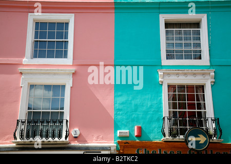 Brightly coloured housing on Portobello Road, Notting Hill, London - Stock Photo