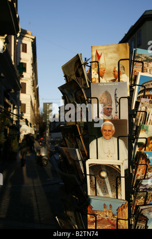 postcard stand by gift shop in rome italy - Stock Photo