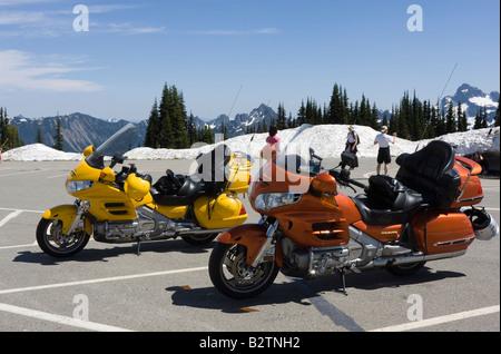 Honda Goldwing Motor Bikes At Sunrise Car Park Mount Rainier National Park  Gold Wing Yellow Orange