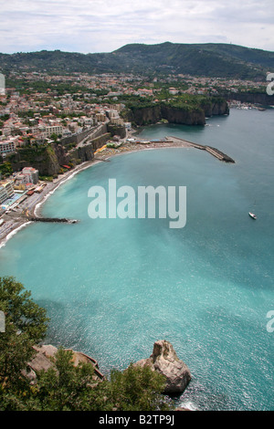The view from Vietri sul Mare ('Vietri on the Sea') in the Sorrentine Peninsula on the Amalfi Coast drive in Italy - Stock Photo