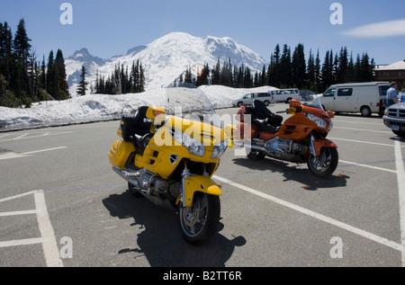Honda Goldwing motor bikes at Sunrise car park Mount Rainier National Park - Stock Photo