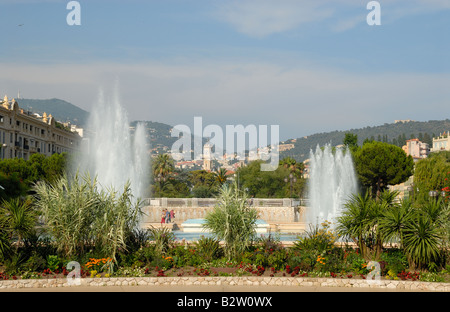 Fountains at Massena Square in Nice, France - Stock Photo