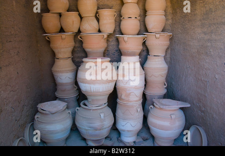 Fired pots in kiln at pottery in Thrapsano on the Greek Mediterranean island of Crete GR EU - Stock Photo
