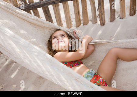 A girl on a hammock - Stock Photo