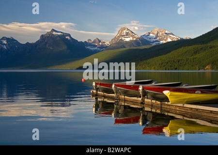 Lake McDonald is the largest lake in Glacier National Park Montana - Stock Photo