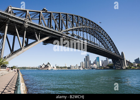Sydney opera house and sydney harbour bridge - Stock Photo
