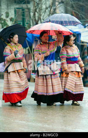 Bac Ha hilltribe market known for colourful Flower Hmong traders north Vietnam - Stock Photo