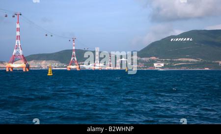 Cable car to Vinpearl resort island Nha Trang Vietnam - Stock Photo