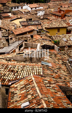Malcesine on Lake Garda in Verona Province Veneto Region Italy Rooftops from the Castle - Stock Photo